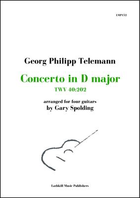 cover of Concerto in D major, TWV 40:202 by Georg Philipp Telemann arranged for four guitars by Gary Spolding